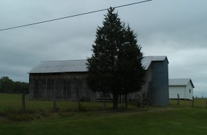Brown and blue barn